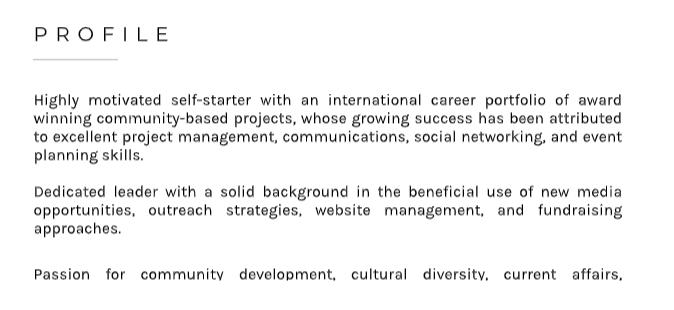 Profile Summary - Resume Writing Guide