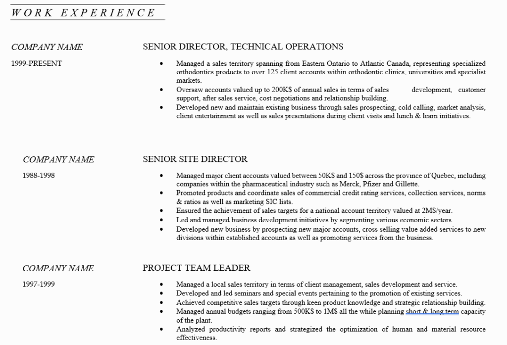 Work Experience and Achievements - Resume Writing Guide