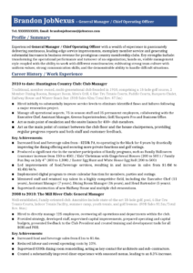 Hospitality General Manager Resume Example