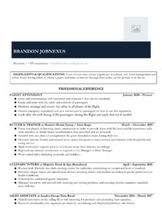 Hospitality Retail Associate Resume Example