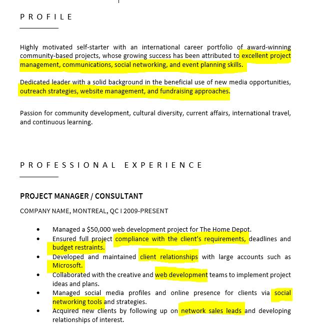 Resume Keyword Example